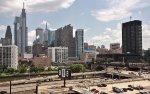 Philly skyline & arriving SEPTA